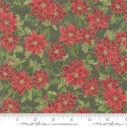 Poinsettias Metallic - Evergreen
