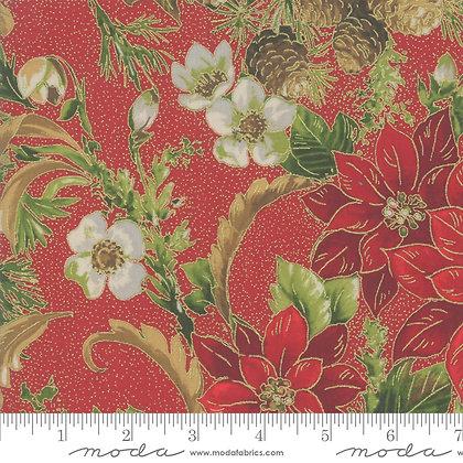 Poinsettias Metallic - Crimson Poinsettias