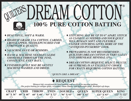 Quilters Dream Cotton Batting, Size Double+, 100%Pure Cotton
