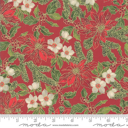 Poinsettias Metallic - Crimson Holly