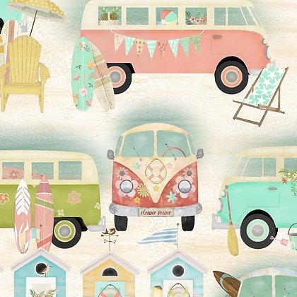 Beach Travel by Beth Albert - Vintage Bus