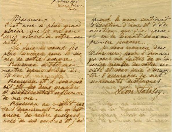 Lettre de Léon Tolstoï pour son adhésion à la Société J.-J. Rousseau.