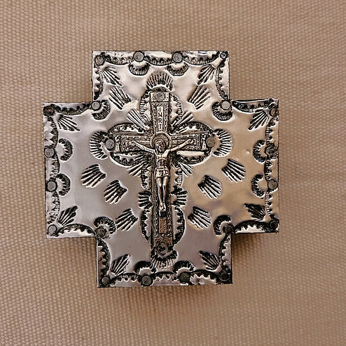 530 Repousse Metal Cross with Cross milagro