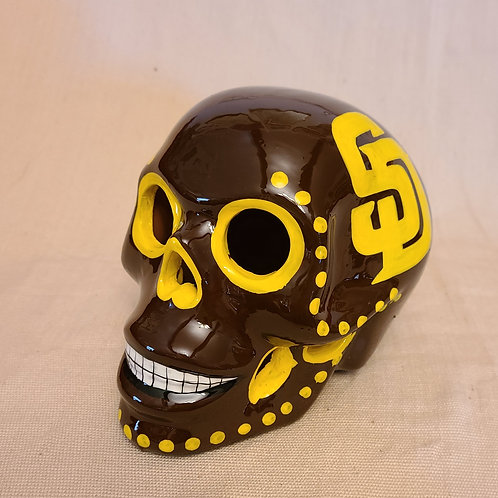 Brown and mustard  Skull With San Diego