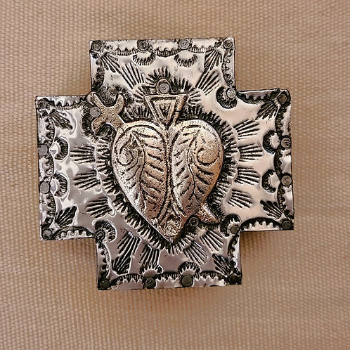 527 Repousse Metal Cross with milagro heart