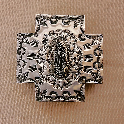 528 Repousse Metal Cross with Guadalupe milagro