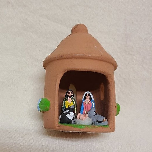 Miniature Nativity in Round Hut