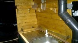 Shelves built around sink.