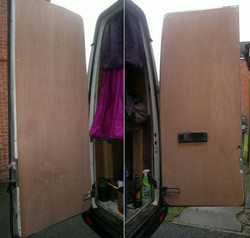 Plylined the back doors.