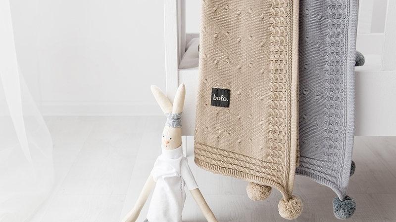 Baumwolldecke mit Kapuze und Pompons