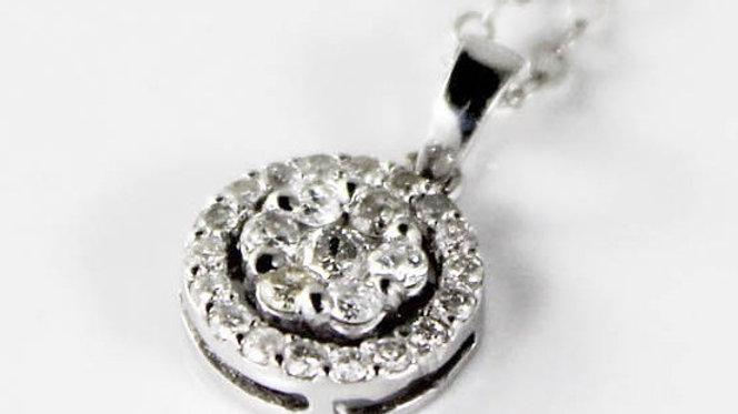 قلادة الماس هالو عيار 18