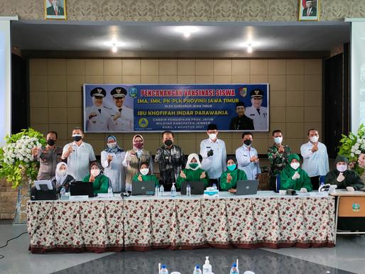 Kunjungan Bupati Jember dalam program 1000 Vaksin untuk Siswa Siswi SMKN 5 JEMBER