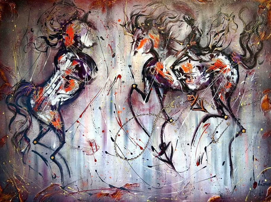 EQUESTRIAN EGO DUO | 30''x40'' by Afouss
