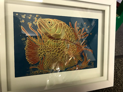 Hand painted koi carp in gold leaf.