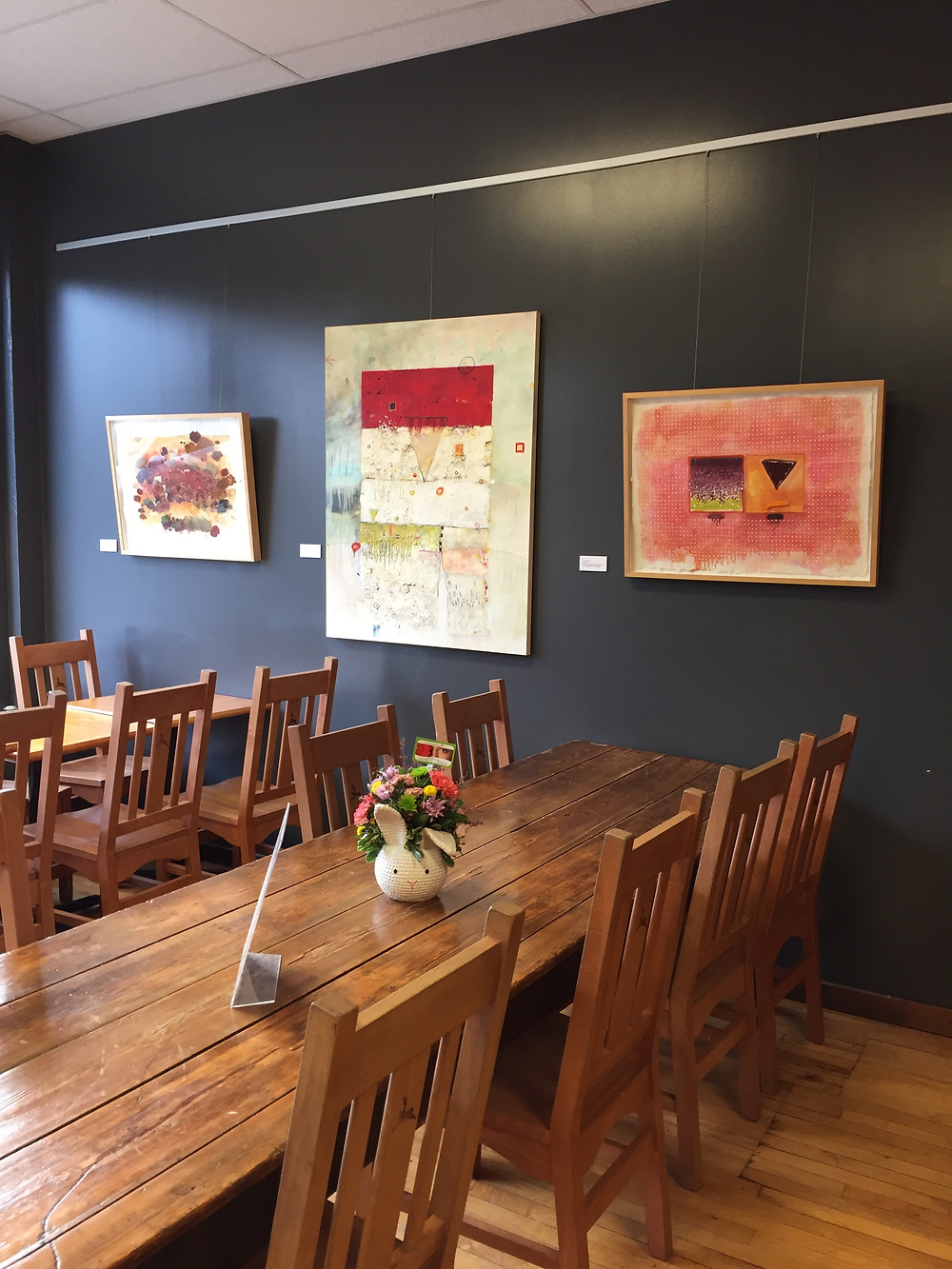 Liquid Color guest artist Carey Corea's work at Dalai Java Cafe