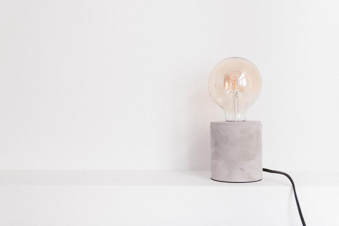 lightbulb on table