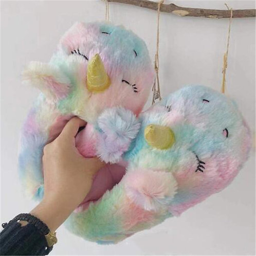 Women's Winter Cotton Shoes Cute Cartoon Unicorn Slippers