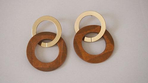 Wood & Gold hoop earrings