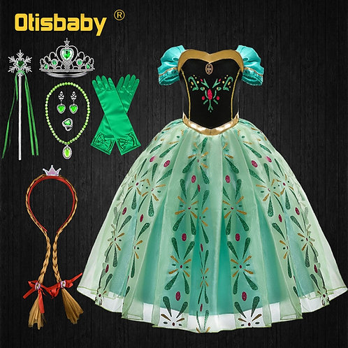 Children's Party Anna Dress Carnival Costumes for Girls