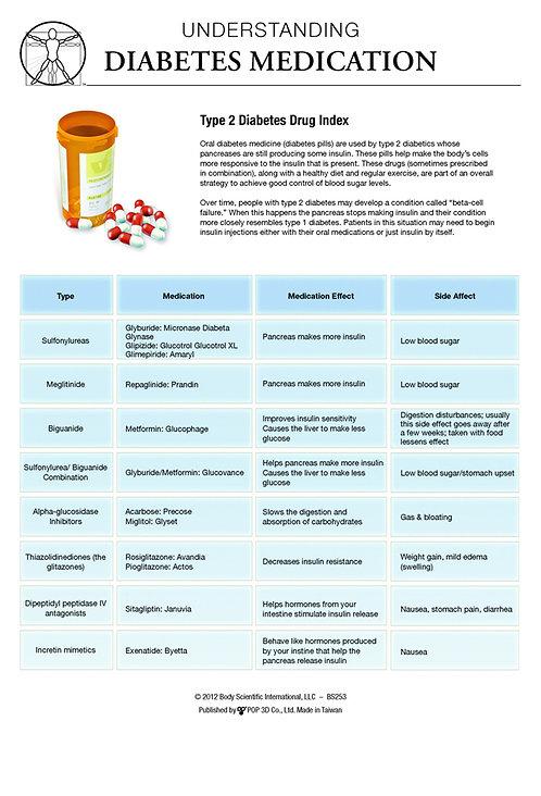Diabetes Medications - Anatomical Wall Chart