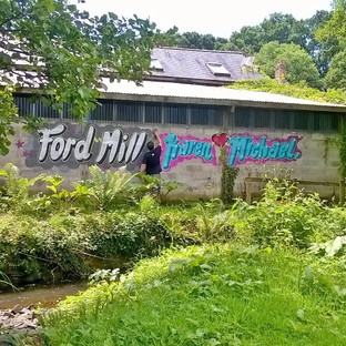 The Ford Mill graffiti. This is the only part of the image which is not drawn.