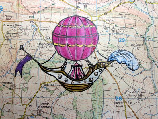 Hot air balloon with cirucs tent