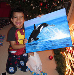 ORCA painting and happy recipient!