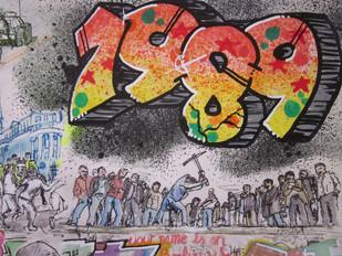 Graffiti style 1989 to reflect the graffiti of the Berlin wall