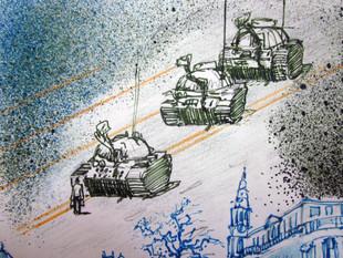 Tank Man protesting in Tiananmen Square