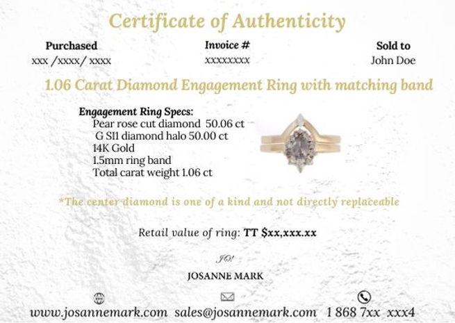 Josanne Mark Certificate of Authenticity