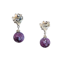 Lepidolite Voodoo Lily Earrings