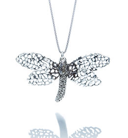 Seafan Dragonfly convertable necklace-hair ornament. Sterling Silver with Swarovski Crysta