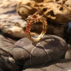 Custom  Gold and Sapphire Two Piece Chakra Energy Point Sunburst Ring