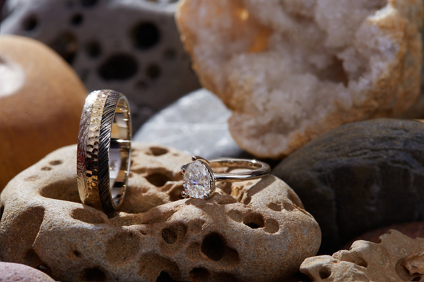 Josanne M Custom 14k Gold Engagement ring and wedding band LRG-2.jpg