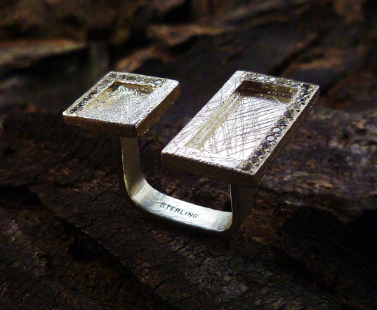 Sterling silver Window Floating Asymmetrical Ring
