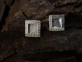 Sterling silver Window Square Studs