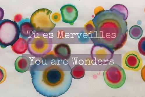 "Carte postale ""Tu es merveilles"""