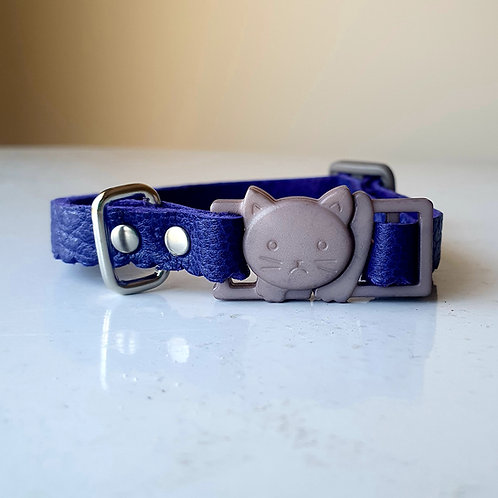 'Puss in Boots' Leather Cat Collar - Purple
