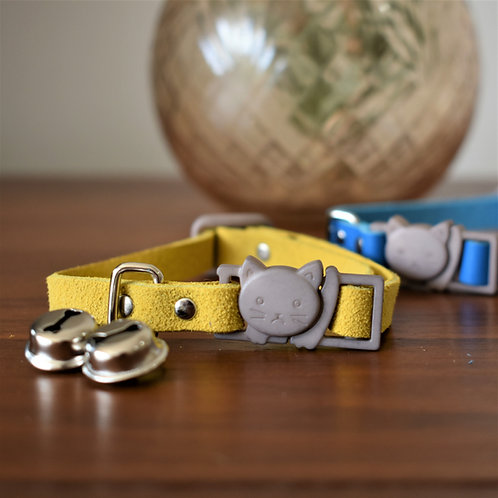 'Puss in Boots' Leather Cat Collar - Yellow Suede