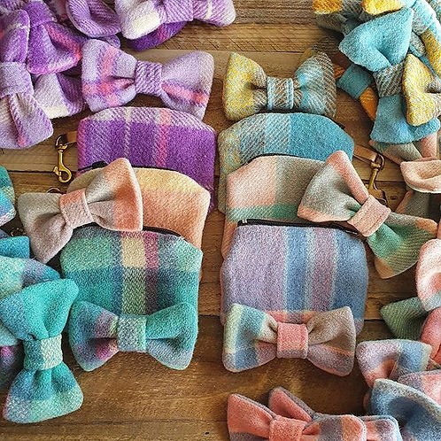 Woollen Bow Tie + Poop Bag Purse Set