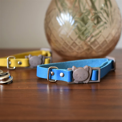 'Puss in Boots' Leather Cat Collar - Sky Blue