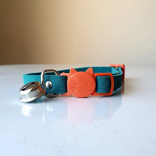 'Puss in Boots' Leather Cat Collar - Teal