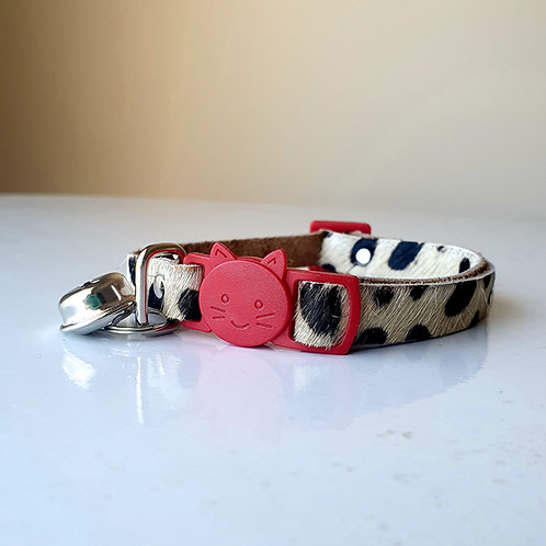 'Puss in Boots' Leather Cat Collar - Cheetah