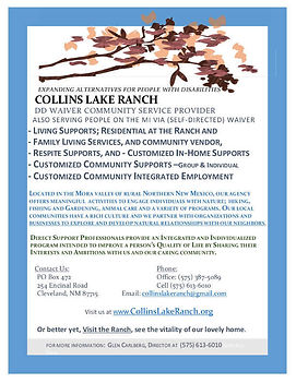 Printable PDF of the Collins Lake Ranch brochure.
