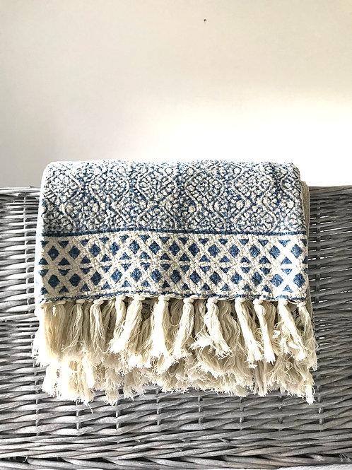 Indigo blue and cream block print cotton throw