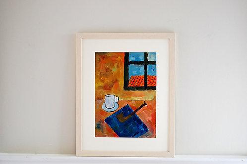 Oil on paper by Joan Queralt i de Quadras - Rural Still Life