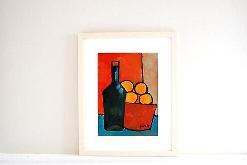 SOLD - Oil on paper by Joan Queralt i de Quadras - Bottle with Fruit Bowl - SOLD