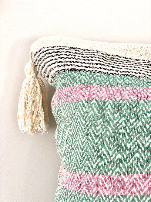 Peppermint and pink striped cotton cushion cover