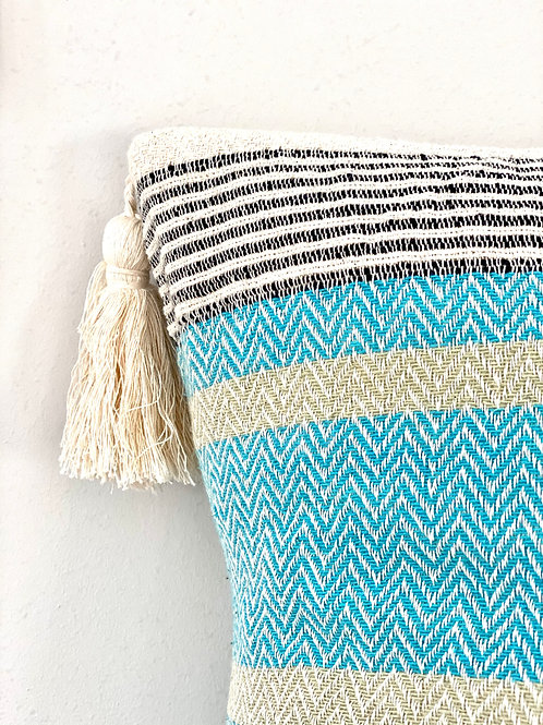 Blue and beige striped cotton cushion cover