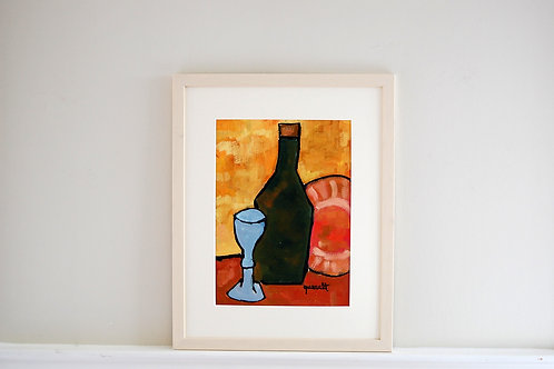 Oil on paper by Joan Queralt i de Quadras - Glass with Bottle and Plate